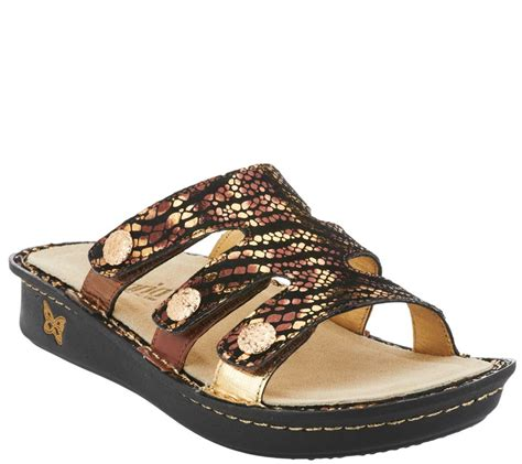 qvc shoes on sale quot as is quot alegria leather slip on sandals with details
