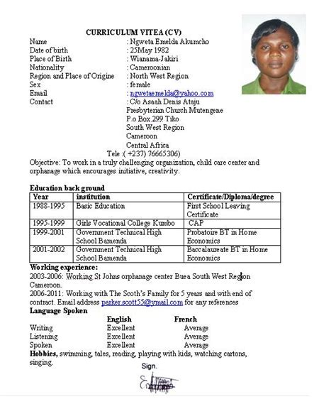 Cv In Au Pair Ngweta Cameroonian Au Pair From Tiko Cameroon