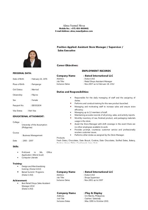 Resume Sles In Uae Alma Mesa Cv