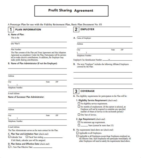 shared service agreement template profit agreement 9 free sles exles format