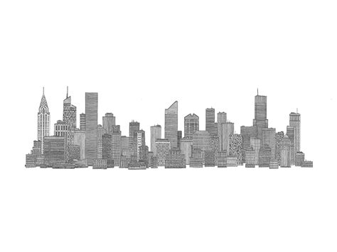 new york skyline stencils city skylines sketches and drawings