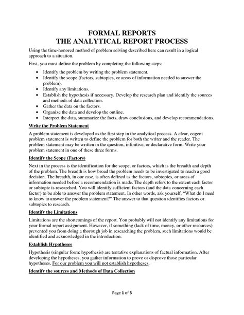 Analytical Report Template Exle Mughals Formal Report Template