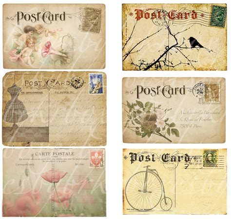 printable custom postcards free six antique and vintage postcards digital collage by