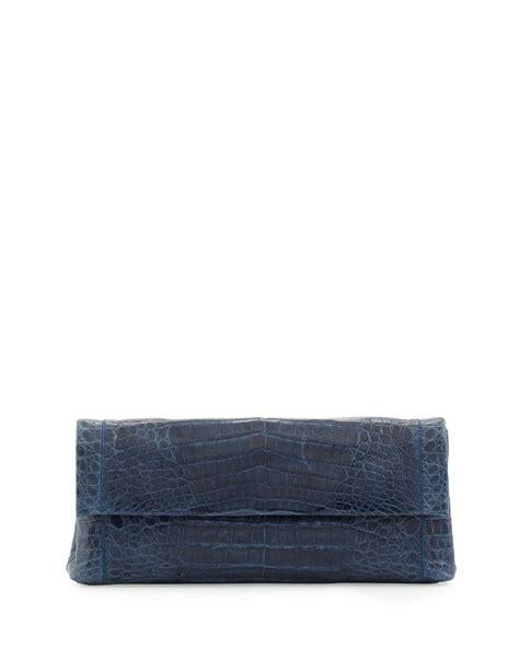 Nancy Gonzalez Crocodile Clutch The Bag nancy gonzalez flap crocodile clutch bag in blue navy lyst