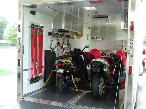 motorcycle enclosed trailer setup ideas enclosed trailer
