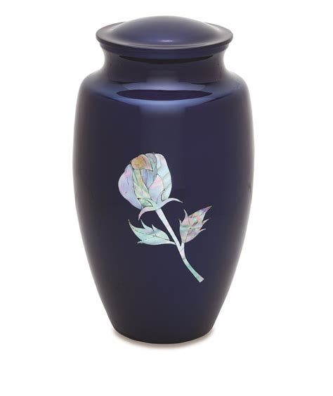 blue urn with of pearl inlay a 7405