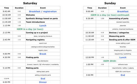 Workshop Schedule Template Workshops Europe 2010 Igem Org