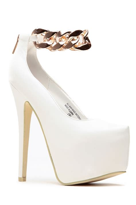 white and gold platform heels shoes mod