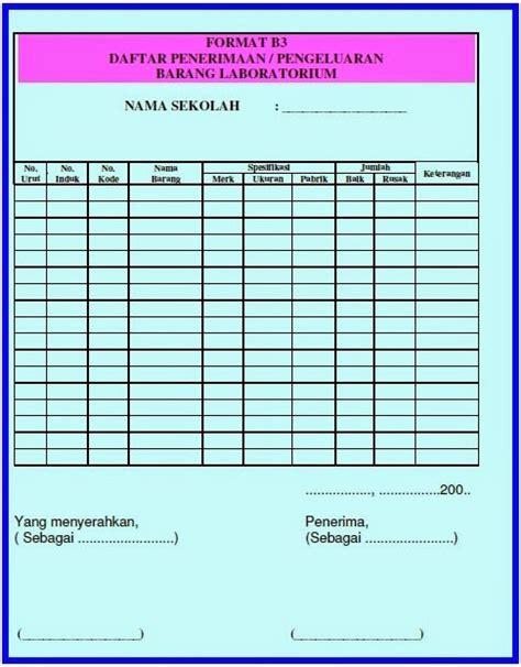 format buku gudang pengelolaan laboratorium administrasi laboratorium