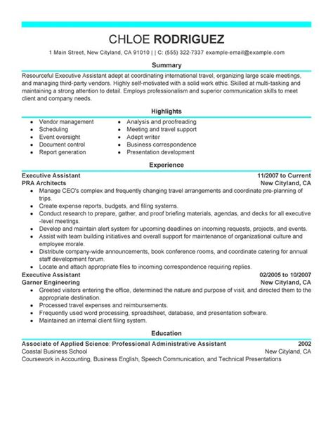 resume sle for executive assistant executive assistant resume exles created by pros