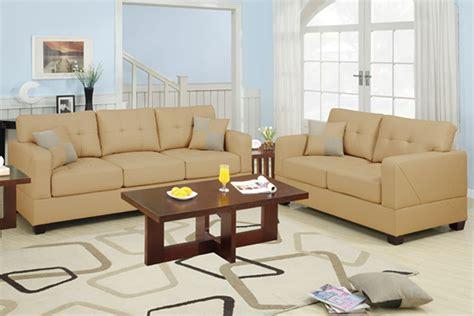 bonded leather sofa set f7342 bonded leather match khaki 2 pcs sofa set by poundex