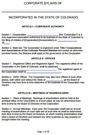 Template Corporate Bylaws Template Mobileqrsolutions Com C Corp Bylaws Template