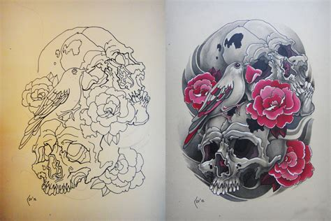 skull rose and bird tattoo design skulls bird and roses by xenija88 on