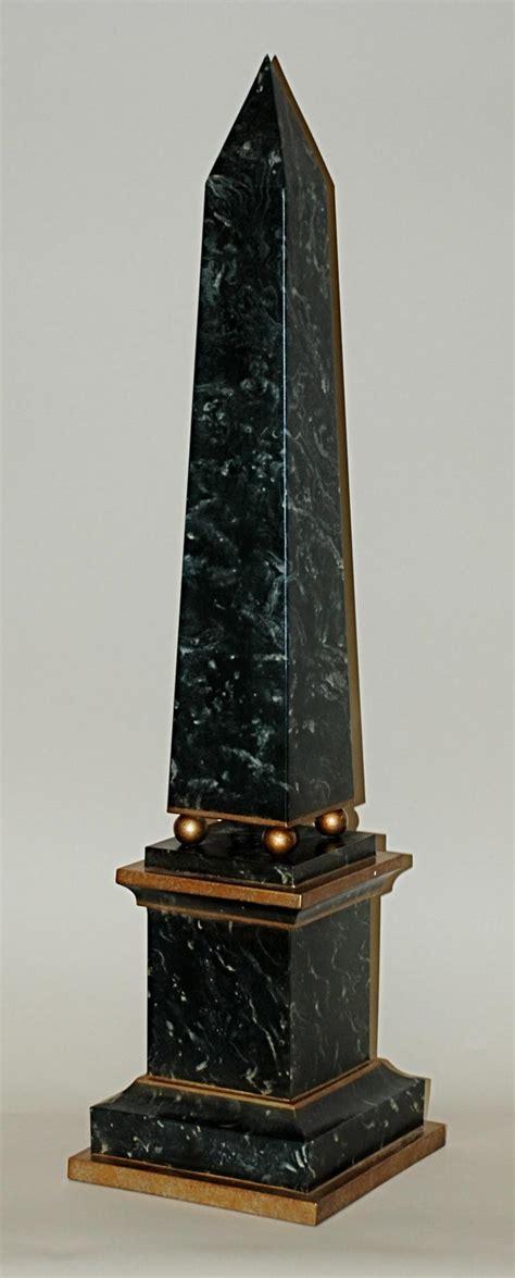 green faux marble obelisk home decor