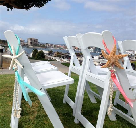diy wedding ceremony chair decorations wedding decor starfish chair decoration with cotton cording and satin and sheer ribbons