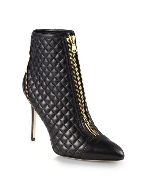 Black Quilted Boots by Brian Atwood Astrid Quilted Leather Ankle Boots In Black