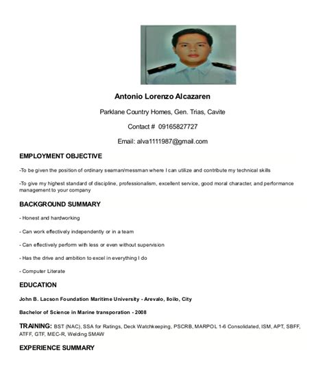 Resume Sle Format For Seaman My Resume