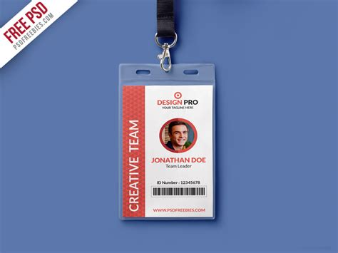 free id card template free psd office identity card template psd by psd