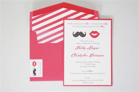 Coed Bridal Shower by Co Ed Bridal Shower Invitations Mustache