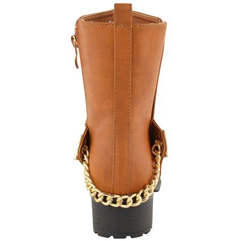 womens chunky ankle boots mid block heel biker