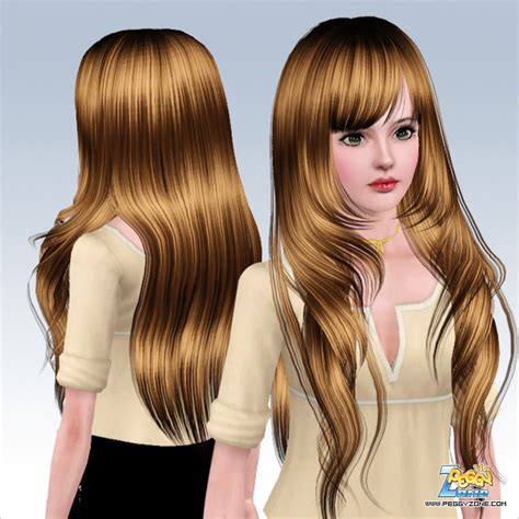 long hair with bangs sims2 very long hair framing the face hairstyle id 528 by peggy