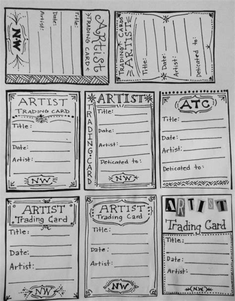artist trading card envelope template artist trading card template for back of atc s atc