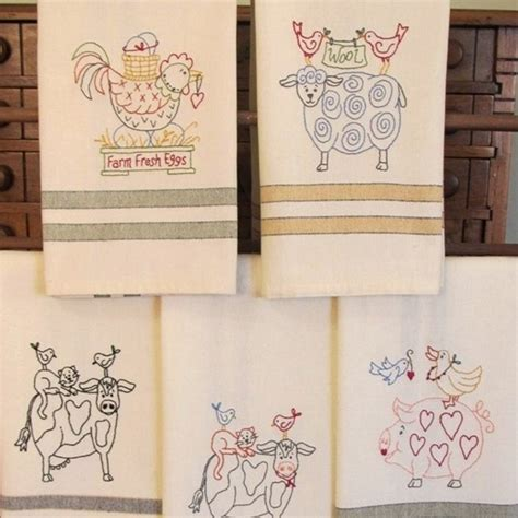 Machine Embroidery Designs For Kitchen Towels 4 Tea Towel Machine Embroidered Designs With Plenty More Animals To Embroider