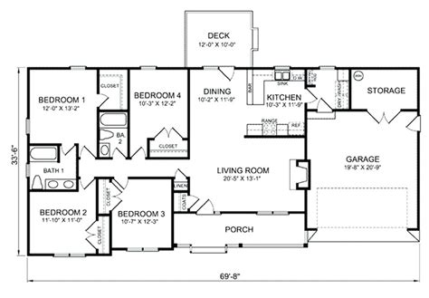 4 5 Bedroom House Plans by 4 Bedroom Ranch House Plans Ipbworks