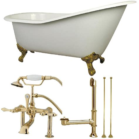 cast iron bathtub faucets aqua eden slipper 5 ft cast iron clawfoot bathtub in white with faucet combo in polished brass