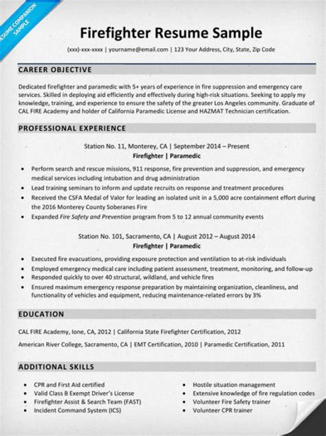 Downloadable Firefighter Resume Sle Resume Companion Firefighter Resumes Templates