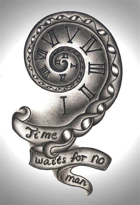 time clock tattoo designs time waits for no design by mortar