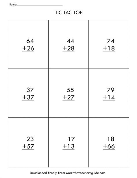 printable addition games with regrouping two digit addition worksheets from the teacher s guide