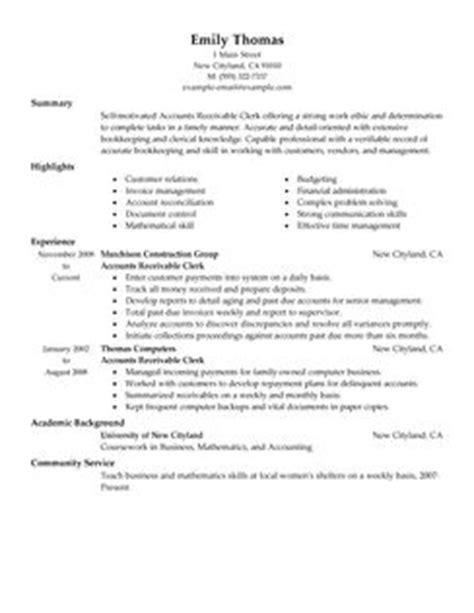 accounting clerk resume sles canada best accounts receivable clerk resume exle livecareer