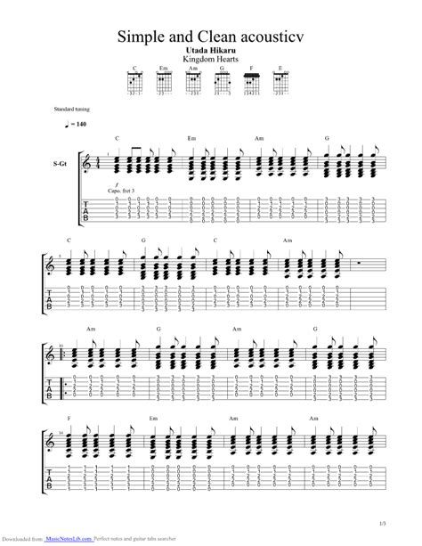 simple  clean acoustic guitar pro tab  utada hikaru  musicnoteslibcom
