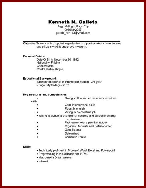 exle of resume format for working students sle resume college student no experience jennywashere