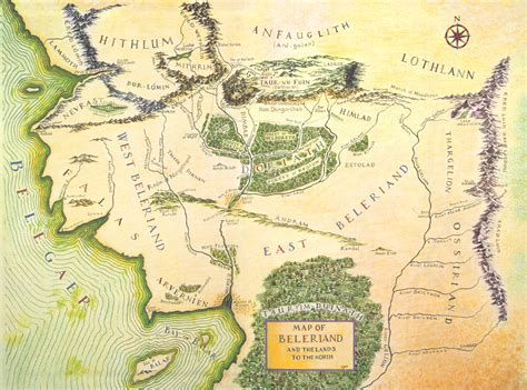 tolkien middle earth map color map of beleriand j r r tolkien