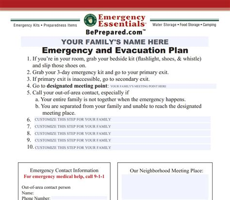 evacuation label template family evacuation plan archives emergency essentials