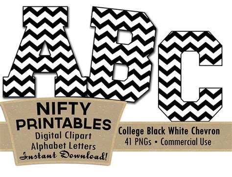 chevron pattern font free black white college chevron digital alphabet letter set