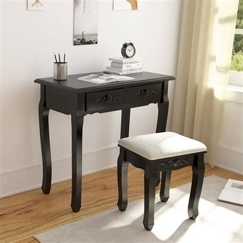 Wood Vanity Table And Stool by Tribesigns Wood Makeup Vanity Table Set With 3 Tri Mirror