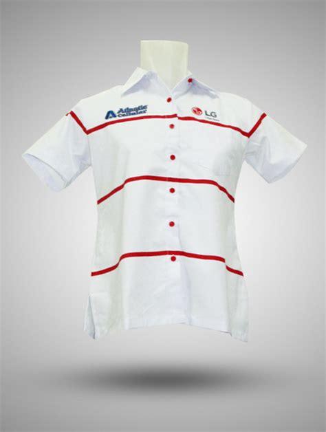 kemeja atlantic seluler lg putih garis merah produsen kaos kemeja jaket tas promosi