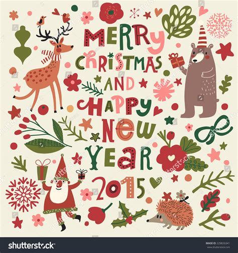 merry christmas   happy  year stylish holiday card  cute sheep