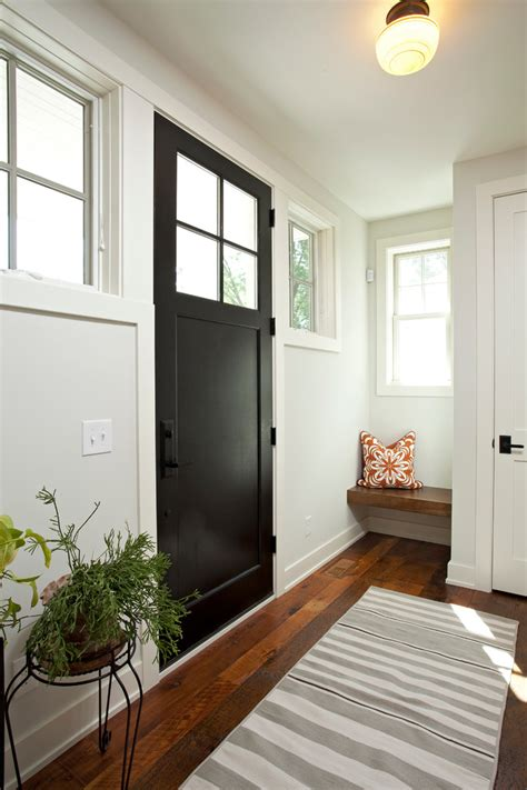 black interior doors in small house chic semi flush ceiling lights in entry farmhouse with simpson door next to benjamin