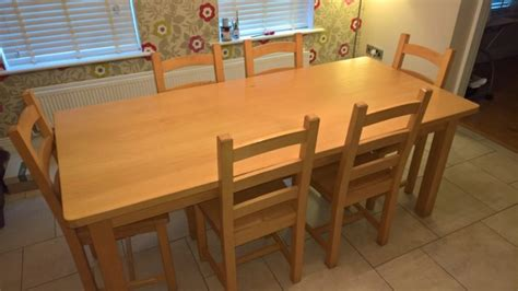 fineline solid beech kitchen table six chairs for sale in