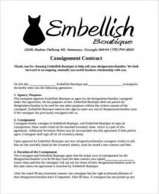 Clothing Consignment Agreement Template Sample Consignment Contract Forms 9 Free Documents In Pdf