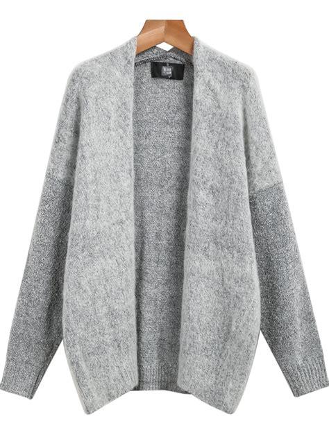 knit cardigans grey sleeve knit cardigan shein sheinside