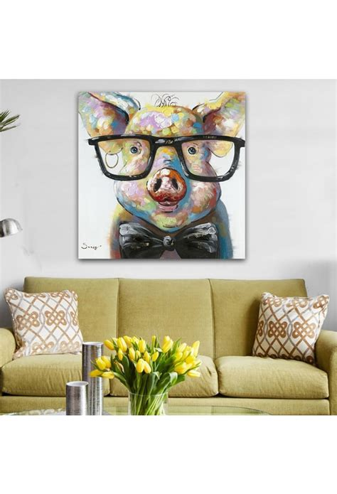 artistic home decor smart pig painted modern home decor wall