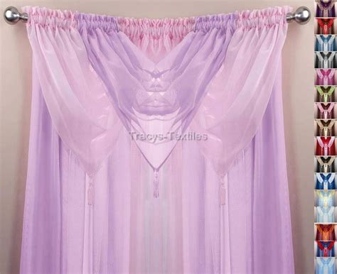 pink swag curtains pink lilac 6 piece swag voile panel curtain set many