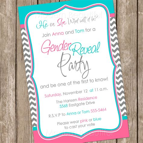 gender reveal invitation template gender reveal invitation baby reveal invite by modernbeautiful