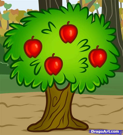 how to draw a fruit tree step by step trees pop culture - Fruit Tree Drawing