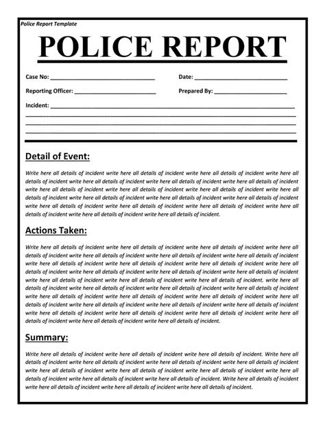 20 Police Report Template Exles Fake Real Template Lab Report Template